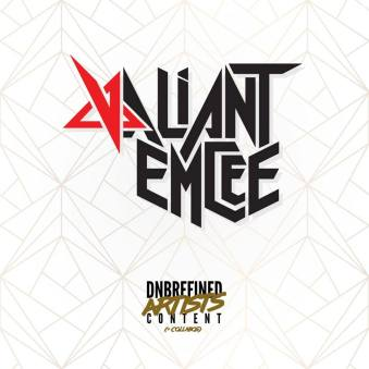 Valiant Emcee logo, now appearing on Valiant's DnB Refined apparel.