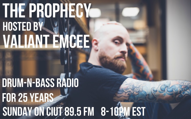 Valiant Emcee is one of the hosts of the longest running DnB radio show in North America, The Prophecy.